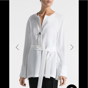St. John Collection georgette blouse with belt